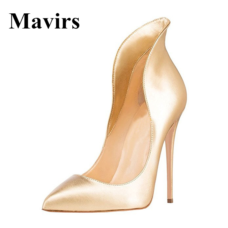 Mavirs Brand Pointed Toe Sexy Extreme High Heels Women Pumps Stilettos Pretty Dressing Wedding Shoes Gold Silver US Size 5-15 mavirs brand women ankle boots 2018 pointed toe matt 4 75 inches chunky high heels black gray gold white shoes us size 5 15