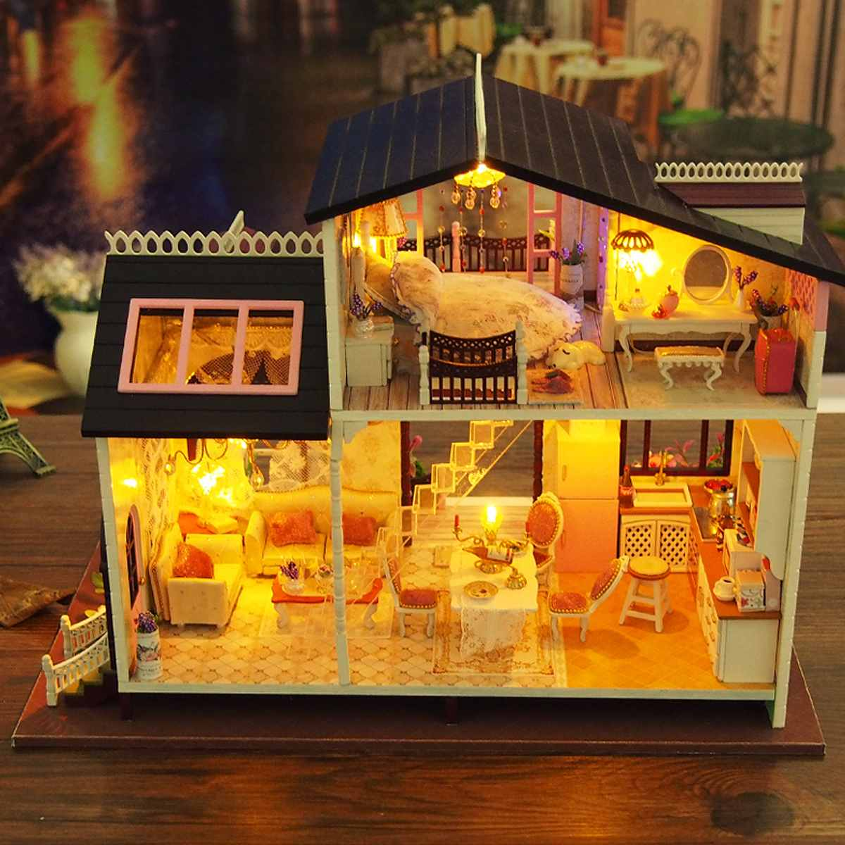 LED Light DIY Bowness Town Villa Miniature Wooden Doll House Furniture Kit Gift