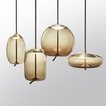 Postmodern LED restaurant pendant lights bedroom hanging lighting bar Glass deco fixtures dining room suspended lamps