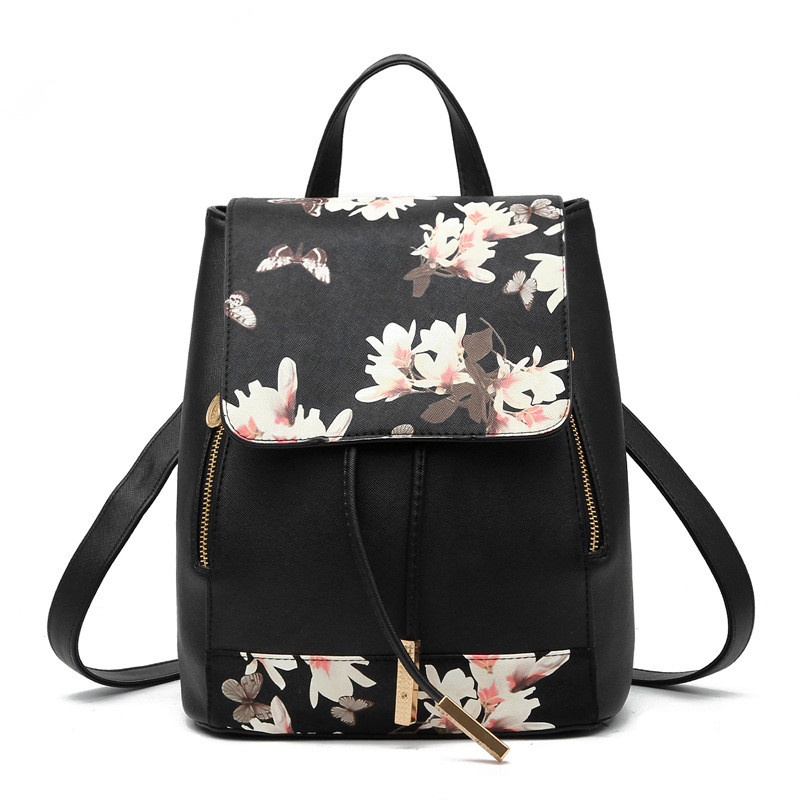 High Quality Black PU Women Backpacks Flower Pattern Casual For Traveling Girl's Schoolbag Adjustable Straps Zipper цены