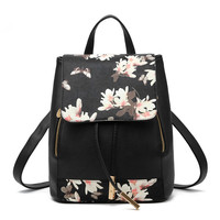 High Quality Black PU Women Backpacks Flower Pattern Casual For Traveling Girl's Schoolbag Adjustable Straps Zipper