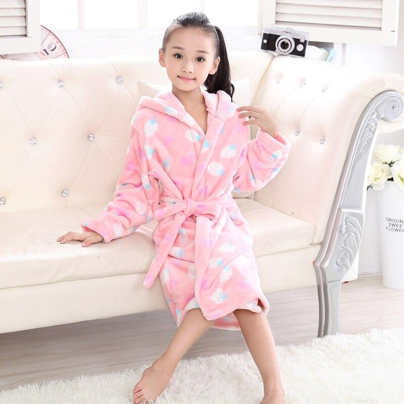 Autumn Winter Kids Robes Flannel Teenage Bathgrowns Bathrobes Warm Silk Flower  Girl Robes Children Pajamas Baby Soft Sleepwear-in Robes from Mother   Kids  ... 2116fa5fe