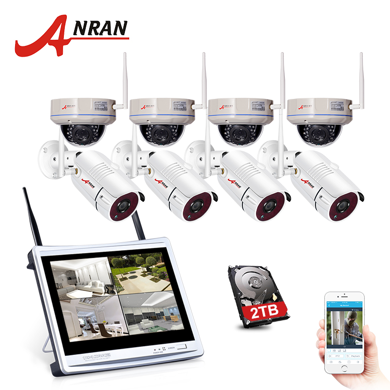 ANRAN1080P 8CH 12LCD Screen Wifi NVR Kit 2.0MP HD H.264 Outdoor Night Vision Wireless Security Camera System Surveillance Kit