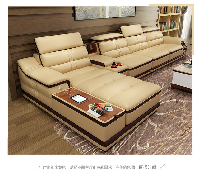 Living Room Sofa Corner Real Genuine Leather Sofas With Storage Usb For Iphone Minimalist Muebles