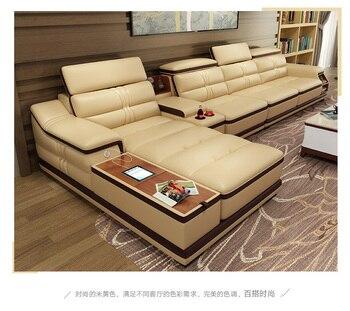 Wohnzimmer Sofa ecke sofa echte echtem leder sofas mit lagerung USB ...