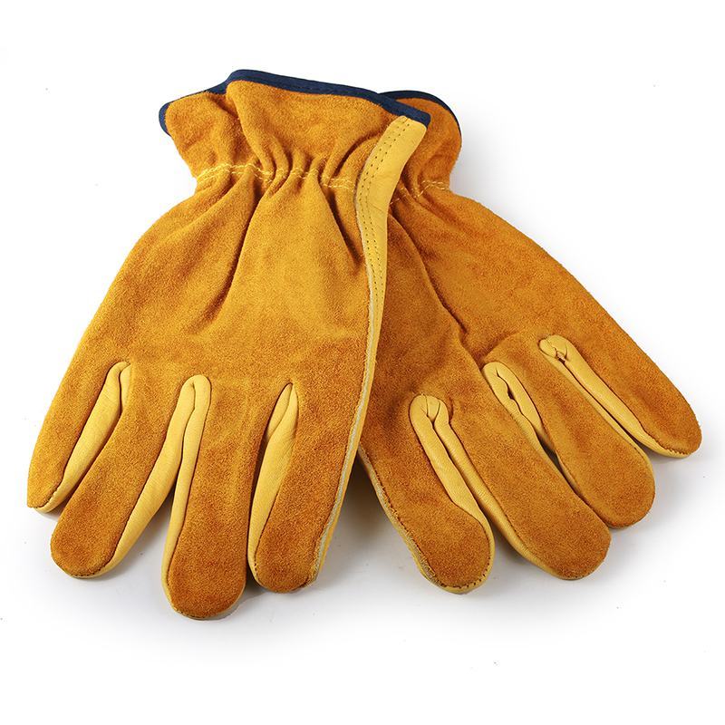 ZK20 Men s Female Work Working Gloves Cowhide Driver Security Protection Wear Safety Workers Welding Moto