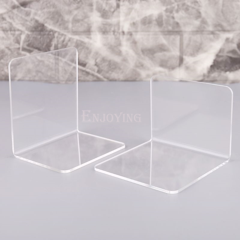 2Pcs Clear Acrylic Bookends L-shaped Desk Organizer Desktop Book Holder School Stationery Office Accessories 5
