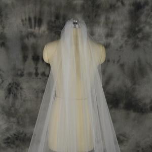Image 3 - Voile Mariage 3M One Layer Lace White Ivory Catherdal Wedding Veil Long Bridal Veil Cheap Wedding Accessories Veu de Noiva