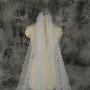 Image 3 - Voile mariage 3 m 한 레이어 레이스 화이트 아이보리 catherdal 웨딩 베일 긴 신부 베일 저렴한 웨딩 액세서리 veu de noiva