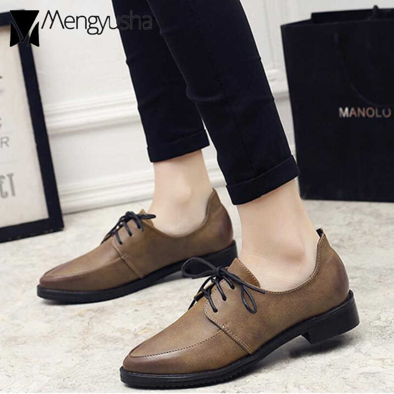 fadd33c89a9 Women Solid Leather Shoes Casual Flats Ladies Oxford Shoes Preepy School Pointed  Toe Derby Bullock Ladies