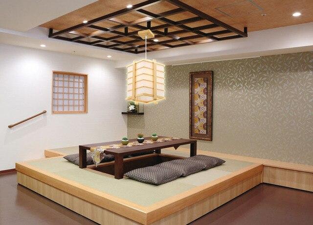 vintage pendentif lumire chne bois rtro lampe led japon style tatami peau de mouton en bois - Chambre Japonaise Tatami