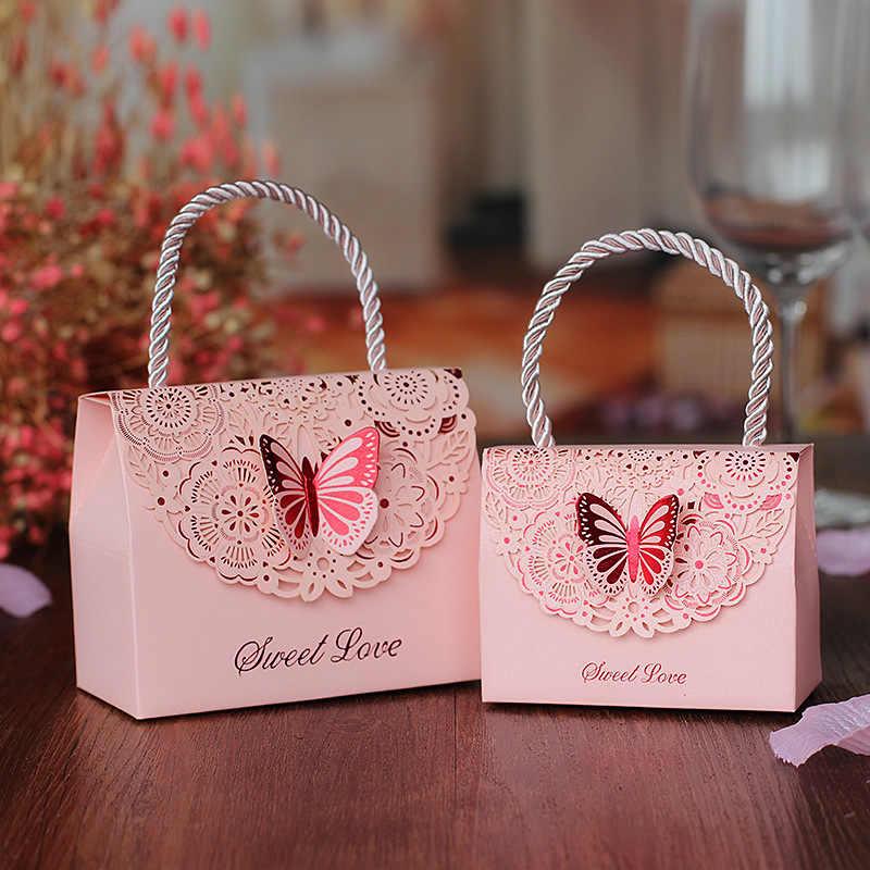 Красочная милая любимая дамская сумочка светло-голубая 3D бабочка Свадебная коробка конфет Красивые вечерние с цветочным принтом Конфеты Подарочная коробка