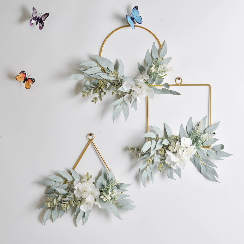 Farmhouse Decor Wreath Geometric Metal Garland Home Decoration Simulation Hydrangea Backdrop Wall Ornament Wreath image