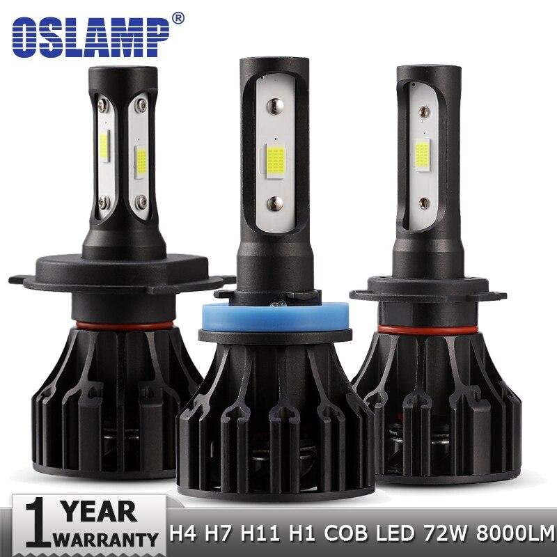 Oslamp H4 H7 H11 H1 LED Del Faro Dell'automobile Lampadine Hi-Lo Fascio COB 72 w 8000lm 6500 k Auto proiettori a led Ha Condotto La Luce Della Lampadina 12 v 24 v Fari