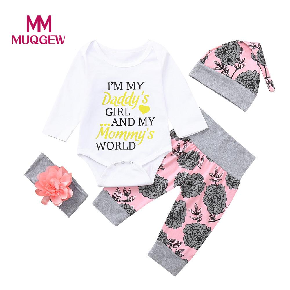 Newborn Toddler Baby Infant Girls Floral T-Shirt Tops Romper Outfits Clothes Set