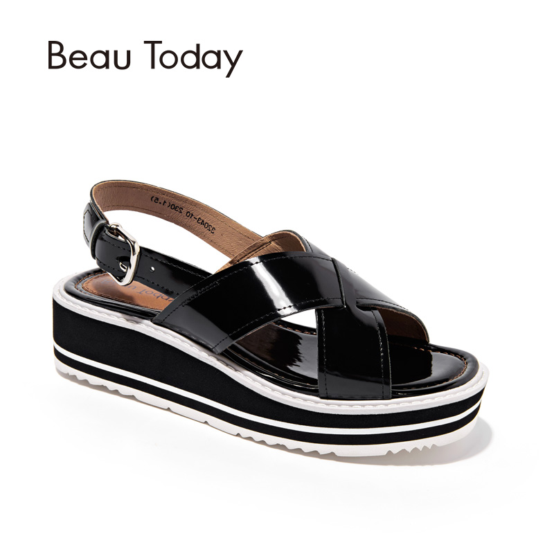 BeauToday Wedges Sandals Women Handmade Genuine Cow Leather Summer Slingback Straps Buckle Platform Shoes Brand 32043 phyanic 2017 gladiator sandals gold silver shoes woman summer platform wedges glitters creepers casual women shoes phy3323