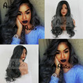 Heat Resistant Synthetic Wigs Grey Ombre Synthetic Lace Front Wigs Long Two Toned Black /Gray Ombre Natural Wigs For Black Women