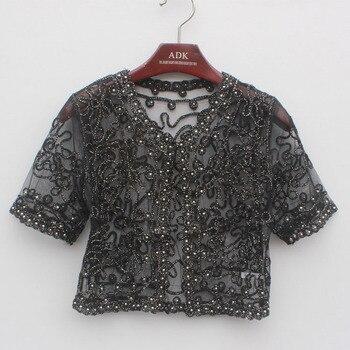 Women Basic Coat Embroidery Ribbon Bead Embellished Short Sleeve Cardigan See-Through Sheer Lace Mesh Bolero Top Jacket 8