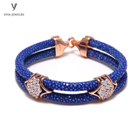 Stingray Bracelet With 925 Sterling Silver Charm Blue Stingray Leather Cords Bracelet Luxury Watch Jewelry Gift For Business Men