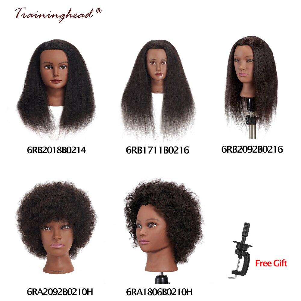 Traininghead Salon Afro Cheveux Tête De Mannequin Humain Avec Stand Mannequin Poupée De Coiffure Formation Dirige Réel Cheveux Mannequin Tête Noir