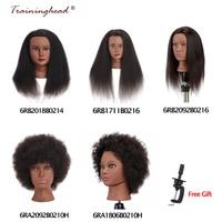 Traininghead Salon Afro Mannequin Head Human Hair With Stand Dummy Doll Hairdressing Training Heads Real Hair Manikin Head Black
