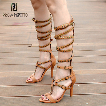 Prova Perfetto New Style Hollow Out T-strap Knee High Boots Sandal Woman Cross Strap Rivet Thin High Heel Lady Gladiator Sandal