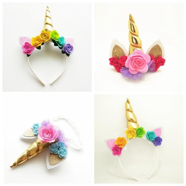 Unicorn Horn Headband, Gold Unicorn Crown Hair Clip, Felt Flowers Unicorn Hairband, Birthday Party Gift