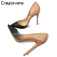 Craylorvans Top Quality Black Nude Gradient Color 12/10/8CM Women Pumps Pointed Toe High Heels Patent Leather Women Party Shoes