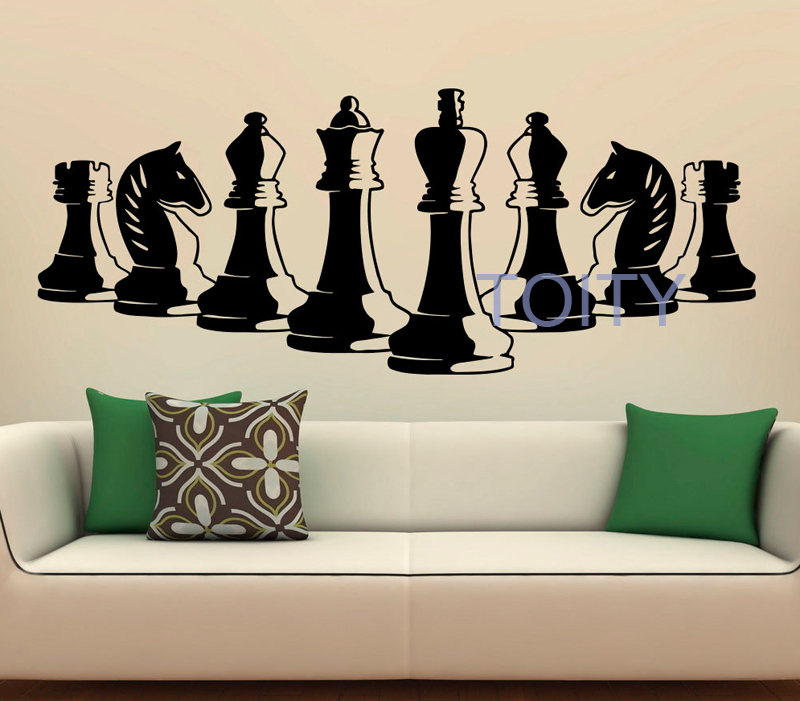 Chess Pieces Wall Decal Vinyl Stickers Strategy Board Game Interior Home Art Murals Bedroom Decor H50cm x W126cm/19.6 x 49.9