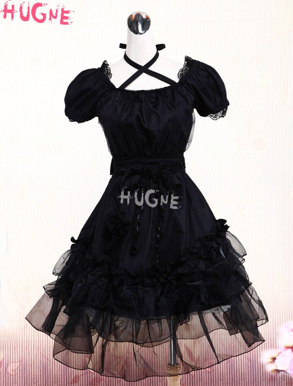 Gothic Black Victorian Steampunk one piece short sleeves Lace Trim Neck Straps japanese Lolita fashion Dresses women princess