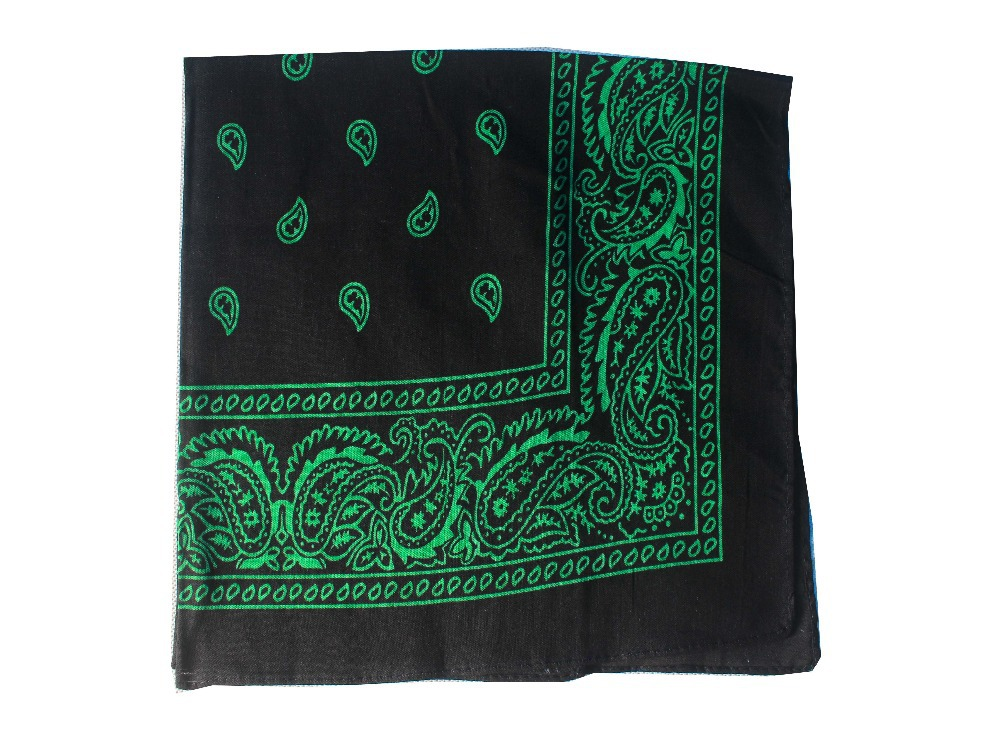 Black And Green Paisley Bandana  Head Wear Bands Scarf Neck Wrist Wrap For Mens