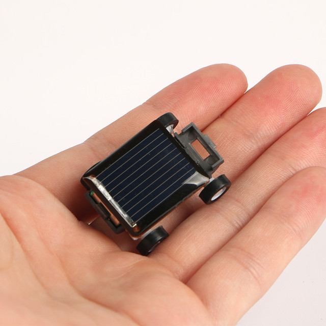 New Strange Black Creative Smallest Mini Solar Powered Car Model Solar Toys Kit Gadgets Educational Baby Kids Toys for Children