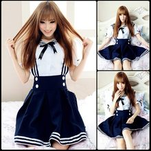 New Japanese School Uniform Cosplay Costume Anime Girl Maid Sailor Lolita Dress Striped Blue(China)
