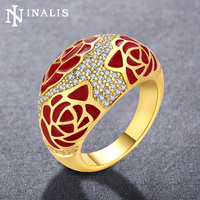 INALIS Brand Unique Design Red Flower Big Rings For Women Golden White Gold Color Fashion Jewelry