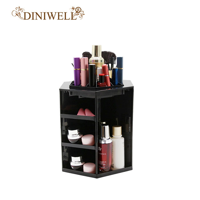 DINIWELL Makeup Storage Box Organizer Case Cosmetic Organizer Jewelry Box Gift Boxes Plastic 360 Degree Rotate Desktop Organizer