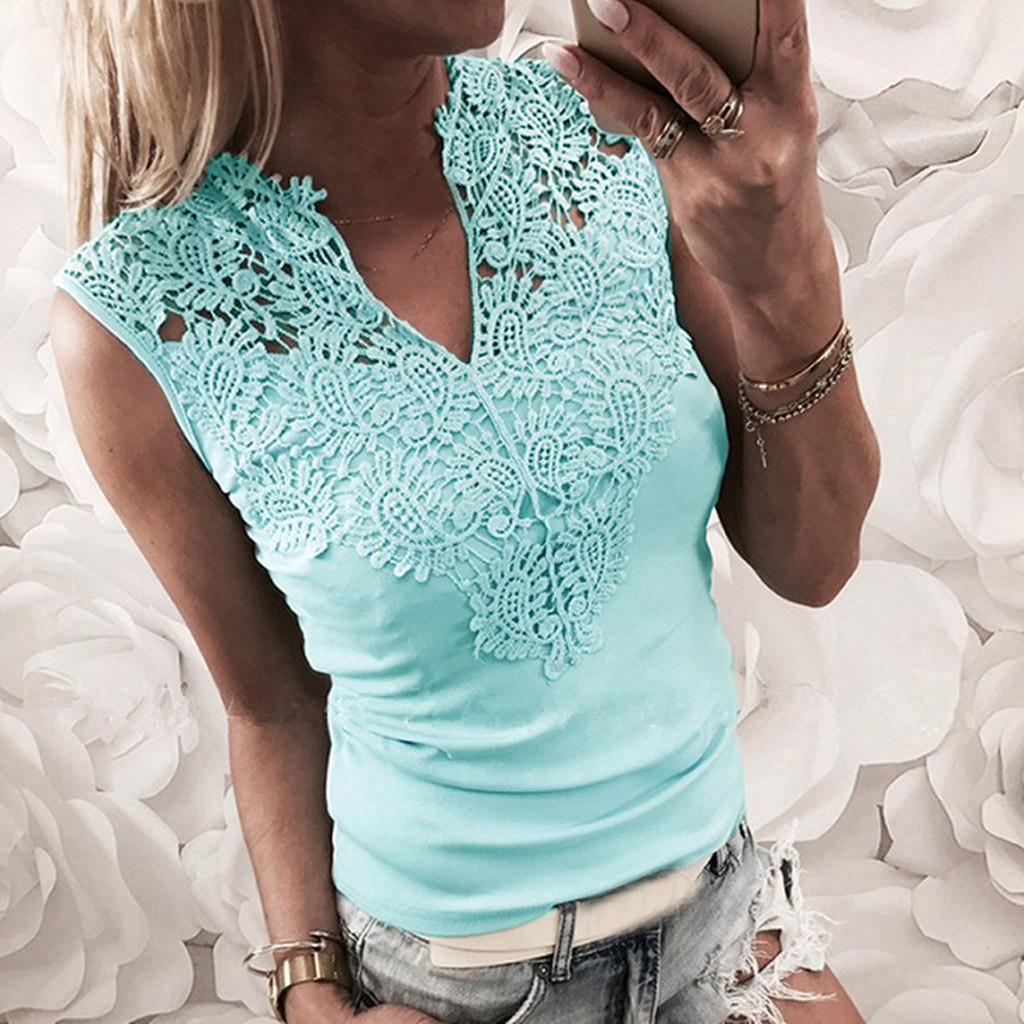 Fashion Tank Top Women Solid Lace Sleeveless Patchwork V-Neck Shirt Tank Vest Blouse Camiseta Tirantes Mujer Women Tank Top