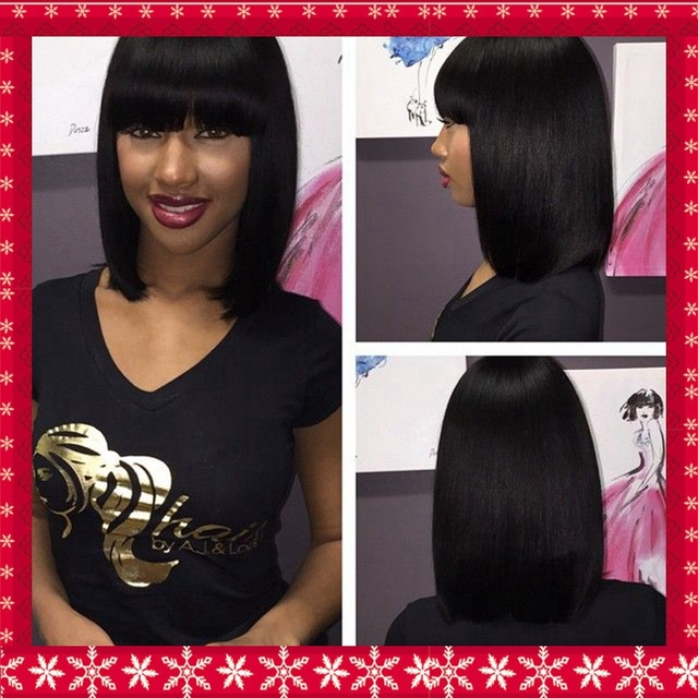 Short Bob Hair Straight Lace Front Wig Middle Part No 3 4inch