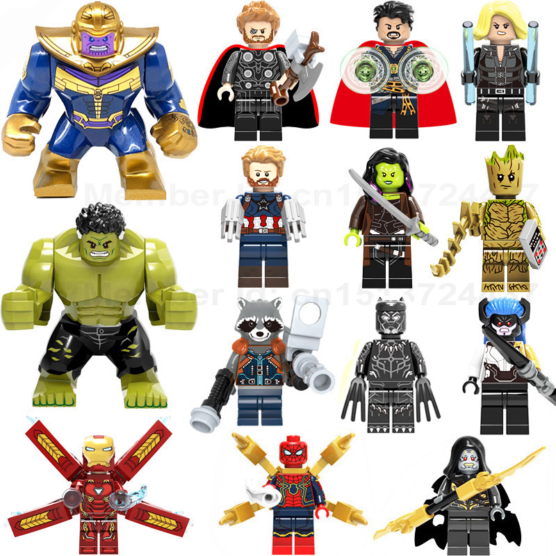 Super Heroes lEGOED Marvel Avengers Infinity War Iron Man Thanos Thor Black Panther Falcon Gamora Hulk Building Blocks toy