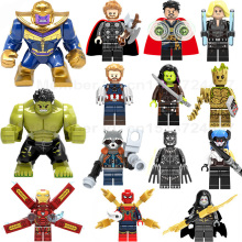 Super Heroes lEGOED Marvel Avengers Infinity War Iron Man Thanos Thor Black Panther Falcon Gamora Hulk Building Blocks toy(China)