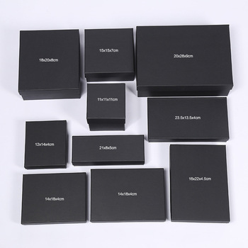 [4Y4A] 100pcs Black Paper Gift Boxes [Accept custom logo] Underwear Socks Cosmetic Necklaces Jewelry & Ring & Necklaces Watches