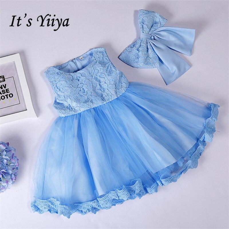 It's yiiya Pure Color   Girl     Dresses   Tank Princess Ball Grown O-neck Sleeveless   Flower     Girls     Dress   097