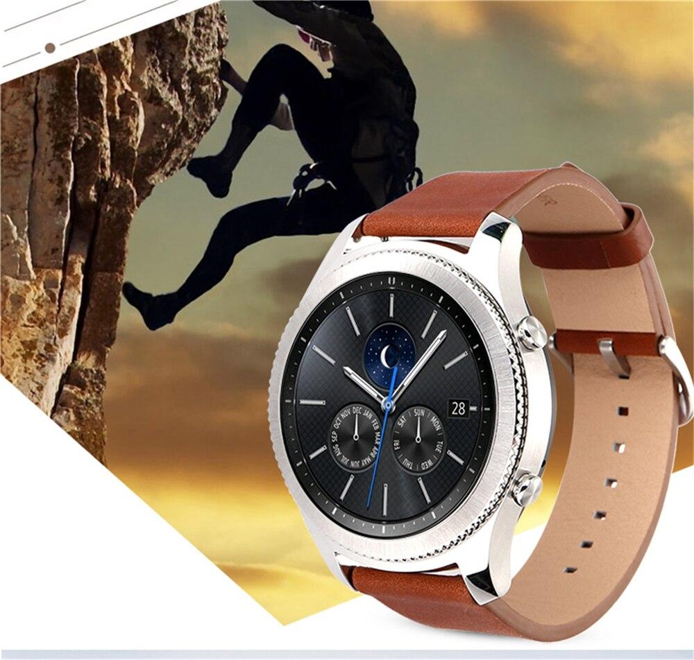 Véritable Bracelet En Cuir Bracelet Bracelet Pour Samsung Gear S3 Frontière/Classique  SM R770 SM R760 SM R765 Smart Watch dans Bracelets de Montres sur
