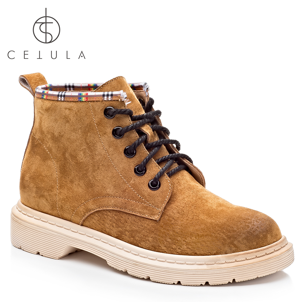 @Cetula 2018 Handcrafted Premium Pig Skin Suede Classic Casual Stitching Lace-up Female Village Ankle Boots ft. Plaid Collar цена 2017
