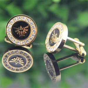 Image 2 - 2PCS Free Shipping USA UK Canada Russia Brazil Hot Sale Gold Color LEGEND Of ZELDA Stainless Steel CuffLinks With Cubic Zirconia
