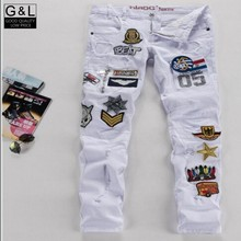 Spring New Fashion High Quality Brand Stylish Mens Rock Punk Straight Slim Fit Trousers Denim Jeans Pants badge white man
