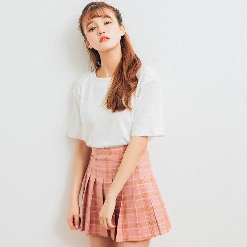 66cef8a0d Old School Plaid Pleated Skirt High Waist Short Mini Sexy Skirt Kawaii Jupe  Courte Faldas Cortas Gonne Gonna Saia
