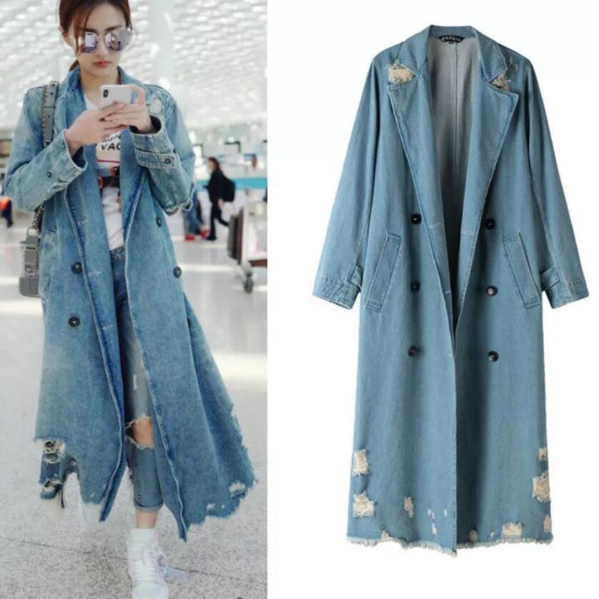 Autumn denim Coat 2018 Fashion Women Vintage Casual Boyfriend syle loose Jean frayed long denim hole Trench Coat