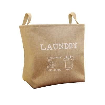 Clothing Organizer Fordable Canvas Laundry Basket Storage Hamper Dirty Clothes Bucket Collapsible Bag Bin