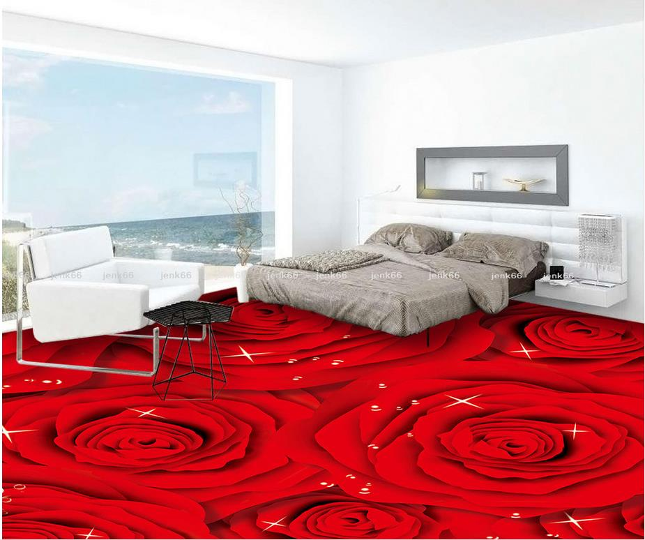 Red Rose Fashion 3D floor Waterproof floor mural painting  Photo floor wallpaper 3d stereoscopic  self-adhesive 3D floor
