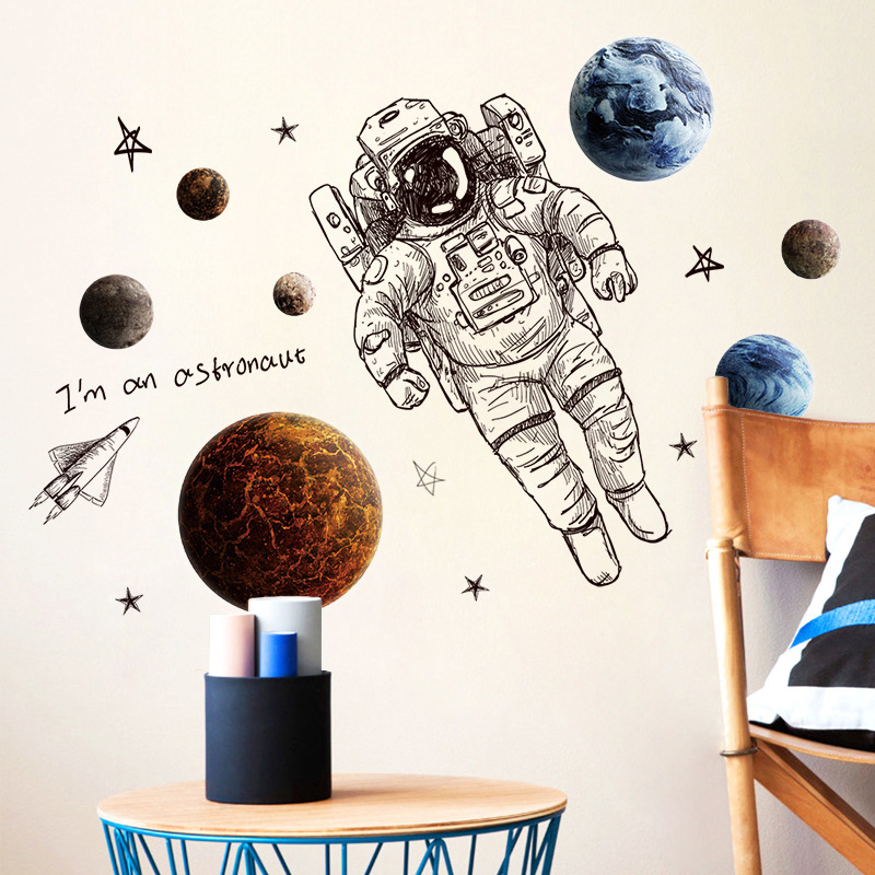 Creative sketch astronaut space wall sticker planet star space shuttle living room decoration youth space dream bedroom wallpape